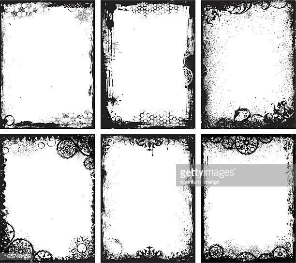ilustrações, clipart, desenhos animados e ícones de grunge conjunto de quadros - moldura preta