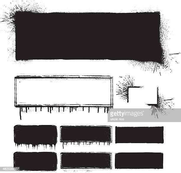 グランジフレームセット - 黒枠点のイラスト素材/クリップアート素材/マンガ素材/アイコン素材