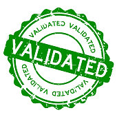 Grunge green validated wording round rubber seal stamp on white background