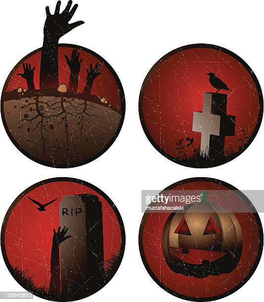 grunge halloween stickers - buried stock illustrations, clip art, cartoons, & icons