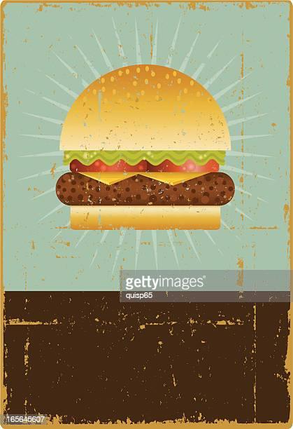 grunge hamburger sign - hamburger stock illustrations, clip art, cartoons, & icons