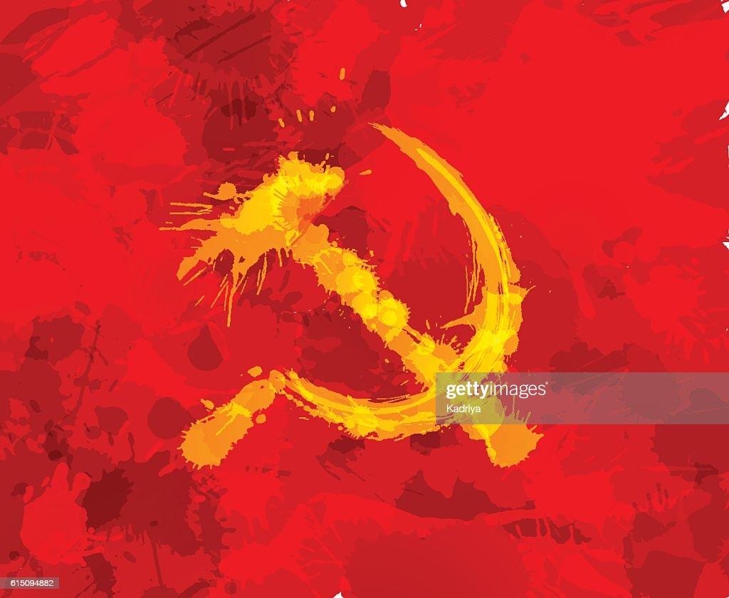 Grunge hammer and sickle symbol of communism on red background