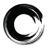 Grunge hand drawn black  paintbrush circle. Curved brush strok