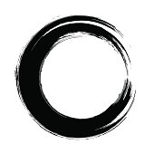 Grunge hand drawn black paintbrush circle shape. Curved brush st