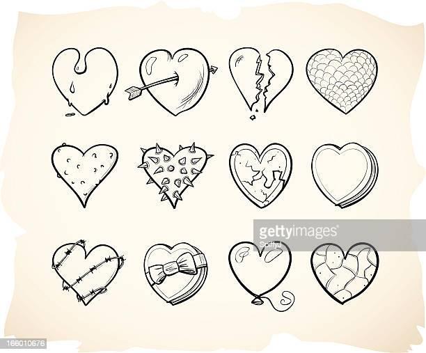 Grunge hand drawn heart series