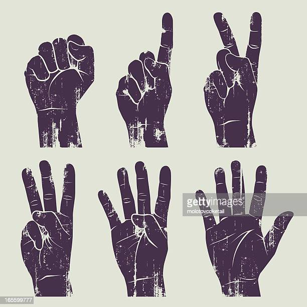 grunge hands - symbols of peace stock illustrations