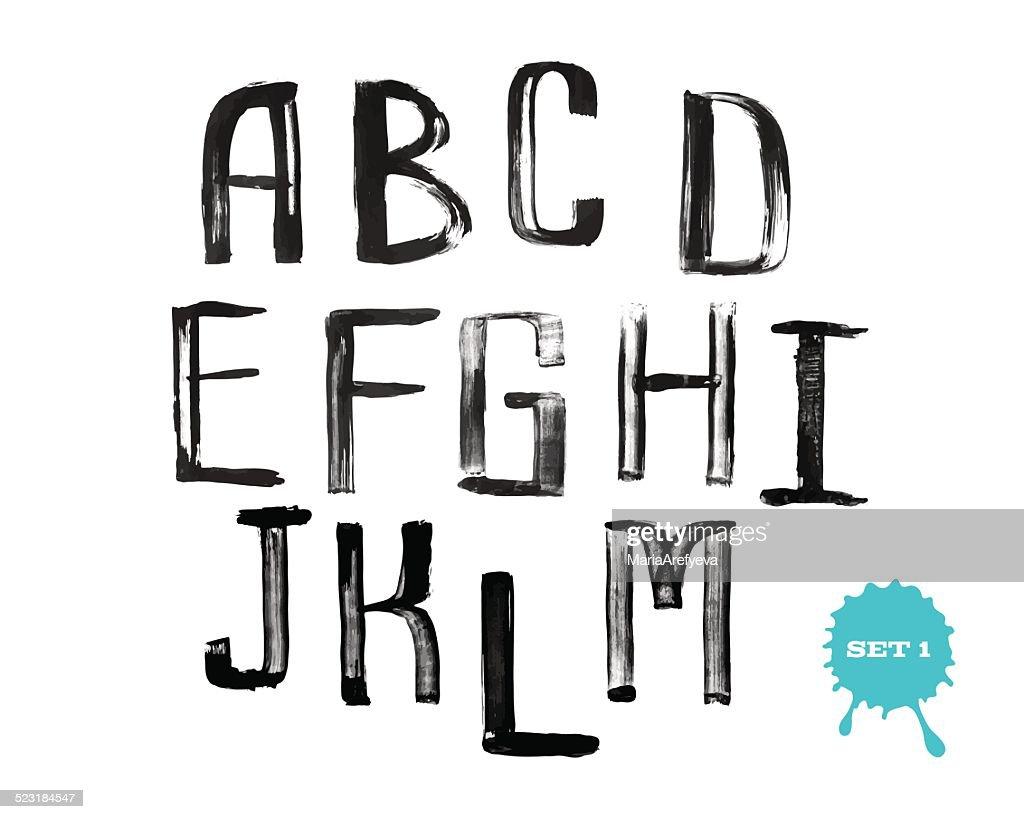 Grunge handwritten alphabet, modern calligraphy, capital letters