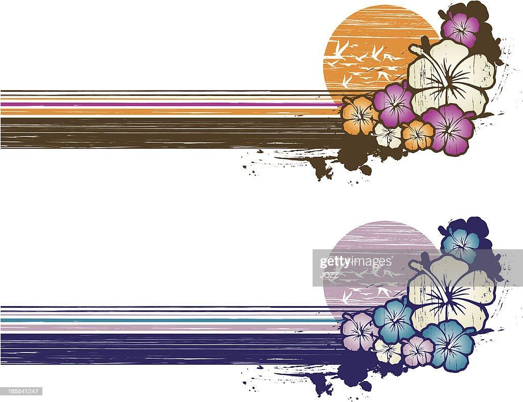 grunge hibiscus banner
