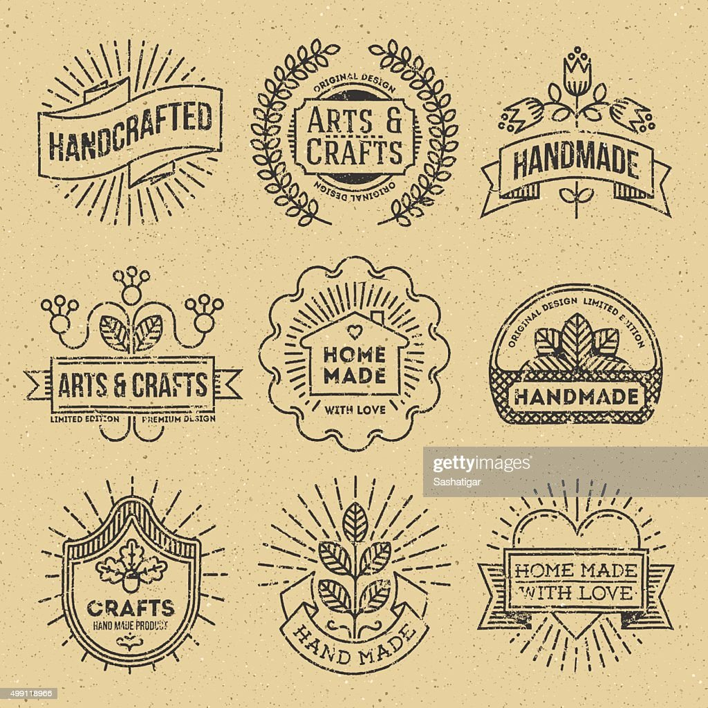 Grunge Hipster Retro Design Insignias Logotypes Set 12.