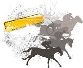 grunge horse racing silhouette