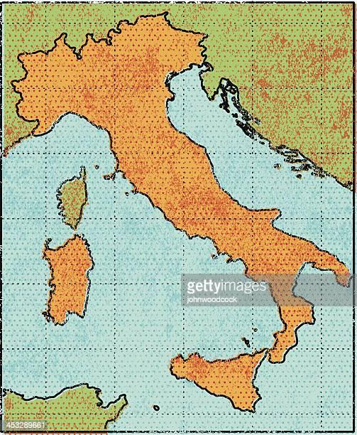 grunge italy map - sardinia stock illustrations, clip art, cartoons, & icons