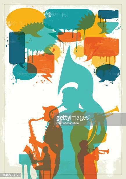 grunge jazz band - music symbols stock illustrations, clip art, cartoons, & icons
