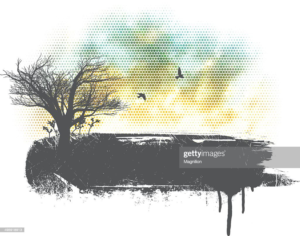 Grunge Landscape : stock illustration