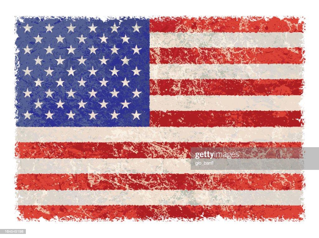 Grunge looking United States flag
