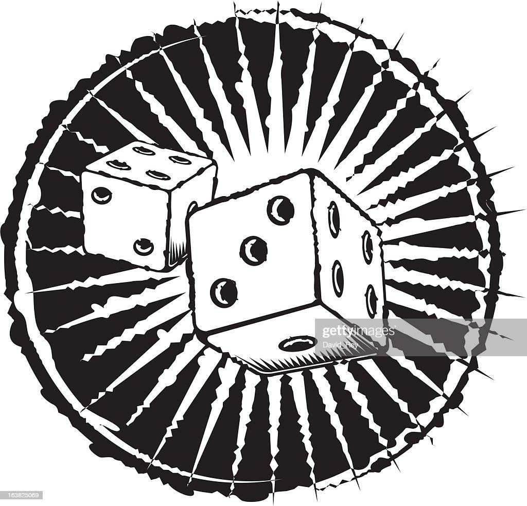 Grunge lucky dice