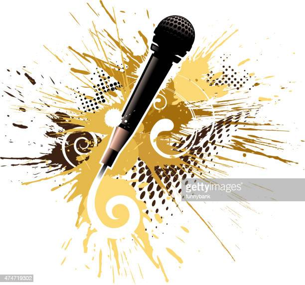 grunge microphone - drop the mic stock illustrations