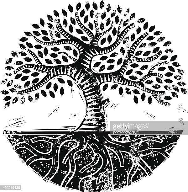 grunge mono woodcut tree - woodcut stock illustrations, clip art, cartoons, & icons
