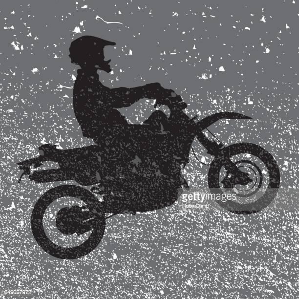 ilustraciones, imágenes clip art, dibujos animados e iconos de stock de motociclista de grunge - motocross