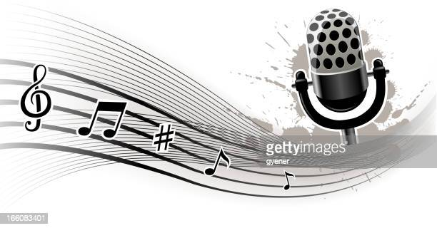 grunge music backround - drop the mic stock illustrations