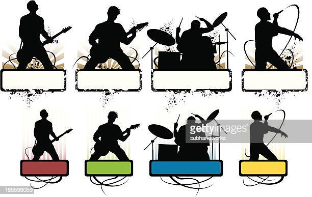 grunge music icons - bass instrument stock illustrations, clip art, cartoons, & icons