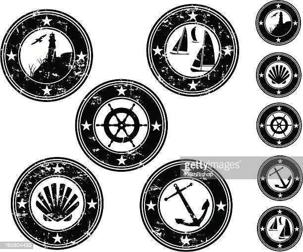 Grunge Nautical Buttons, seashell, anchor, sailboat