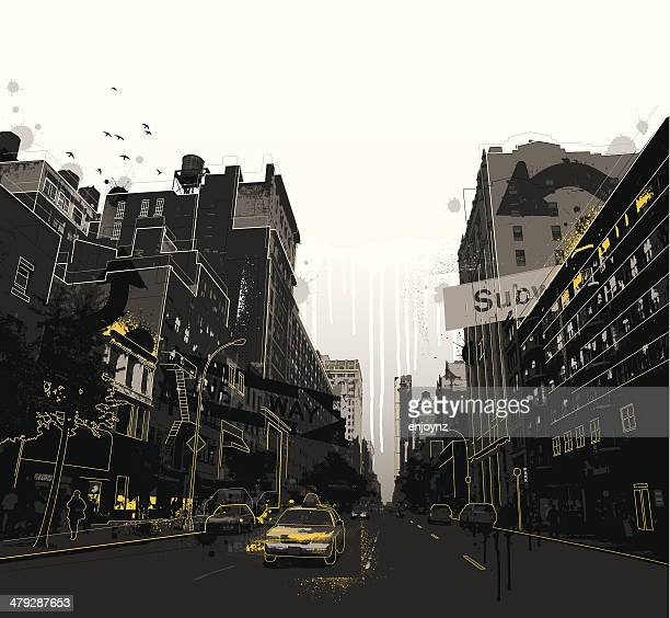 grunge new york city scene - yellow taxi stock illustrations, clip art, cartoons, & icons