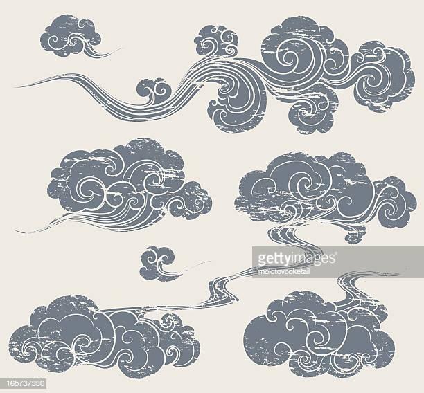 ilustraciones, imágenes clip art, dibujos animados e iconos de stock de grunge oriental nube - nube
