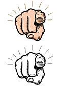 Grunge pointing finger illustration