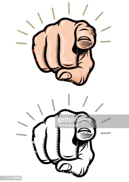 grunge pointing finger illustration - pointing stock illustrations