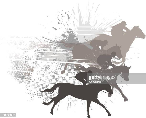 grunge racehorse backround - running track stock illustrations, clip art, cartoons, & icons