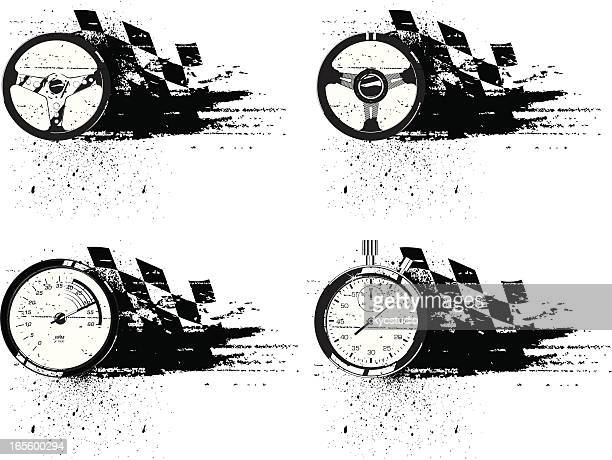 grunge racing emblems - rally car racing stock illustrations, clip art, cartoons, & icons