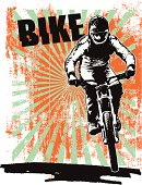 grunge racing poster with bike and rider