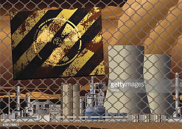 Sinal de perigo de Grunge radioactivas na Central de Energia Nuclear grelha