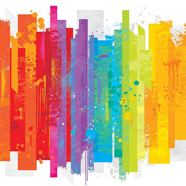 grunge rainbow background - rainbow stock illustrations