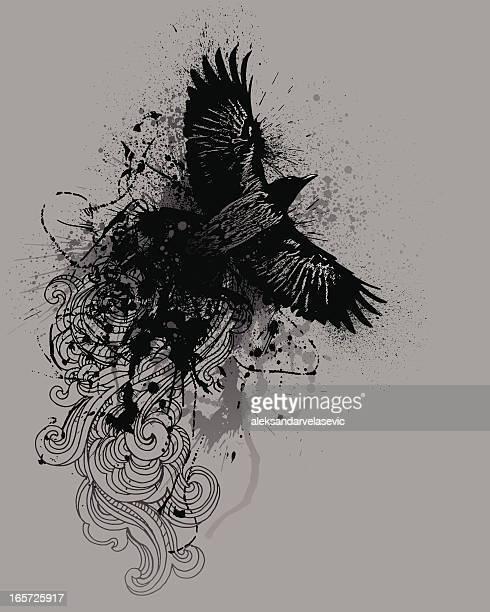 ilustraciones, imágenes clip art, dibujos animados e iconos de stock de cuervo de grunge - alas desplegadas