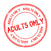 Grunge red adults only word round rubber seal stamp on white background