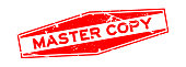 Grunge red master copy word hexagon rubber seal stamp on white background