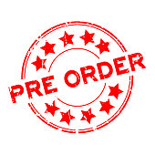 Grunge red pre order wording with star icon round rubber business seal stamp on white background