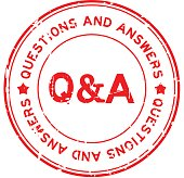 Grunge red Q&A (Questions and Answers) rubber seal stamp on white background