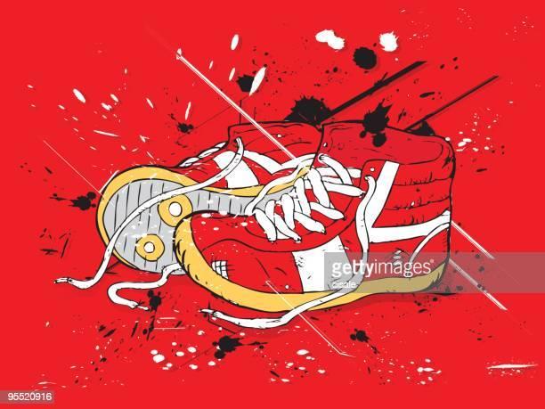 ilustrações de stock, clip art, desenhos animados e ícones de grunge vermelho sapatos - hip hop