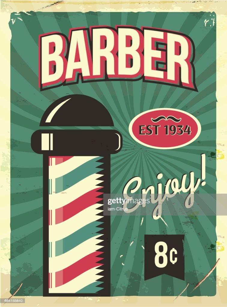 Grunge retro metal sign with barber pole. Barbershop flyer.
