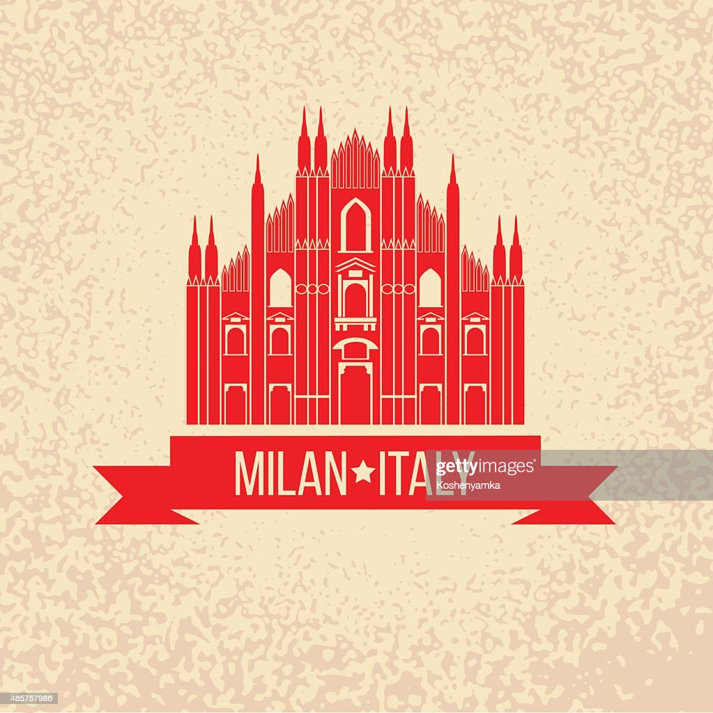 Grunge rubber stamp with symbol of Milan, Italy