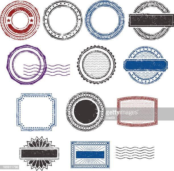 grunge rubber stamps - postmark stock illustrations