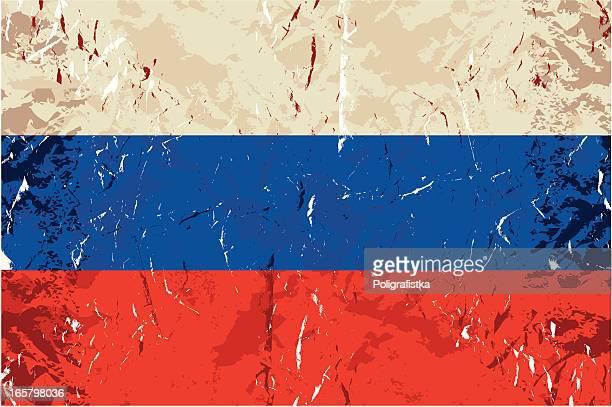 grunge-russische flagge - russische flagge stock-grafiken, -clipart, -cartoons und -symbole