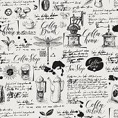 Grunge seamless background on coffee and tea theme