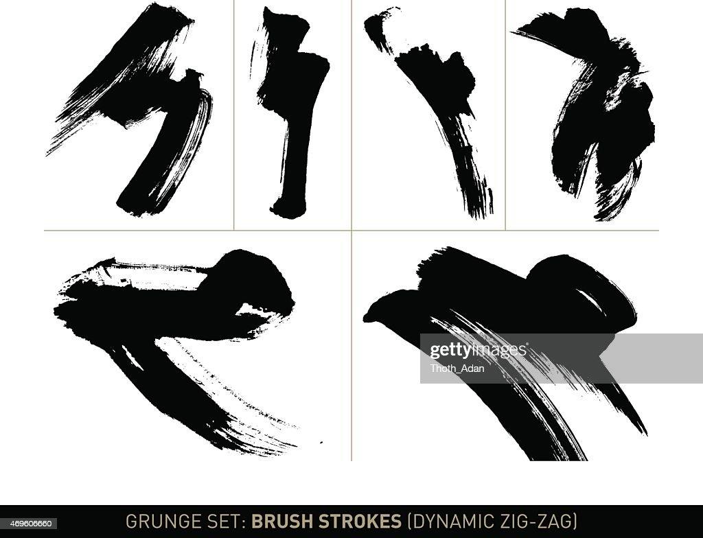 Grunge-set:  Brush strokes Zick-Zack-S/w : Stock-Illustration