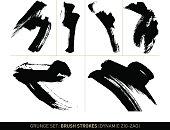 Grunge set: Brush strokes zig-zag in b/w
