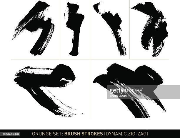 Grunge set: Brush strokes zig-zag in b/w