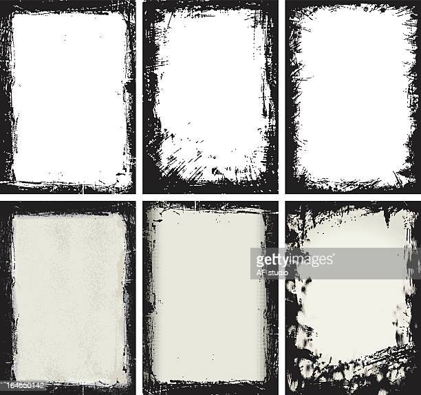 Grunge set composed by 6 different types with black frame