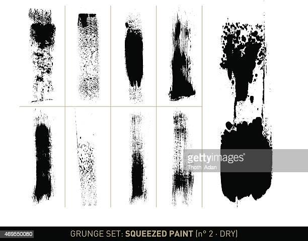 Grunge set: Dry squeezed paint in b/w